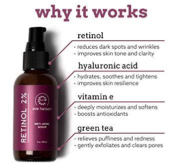 Eve Hansen Retinol Serum for Face 2%   (2oz) Facelift in a Bottle Wrinkle  Filler Pore Minimizer Anti Aging Serum   Organic Retinol Anti Wrinkle  Serum,